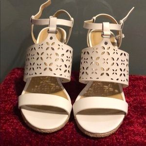 White wedge sandals new in box